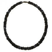 Native Treasure - Black Chips Puka Shell Necklace Surfer Beach Choker - 46cm Inch