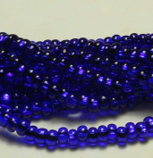Cobalt Blue Silver Lined Czech 6/0 Seed Bead on Loose Strung 6 String Hank Approx 900 Beads
