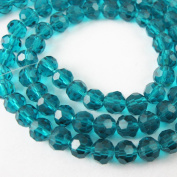 Crystal Glass Beads 4mm Round Faceted, Peacock Blue