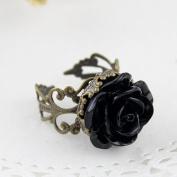Vintage Style Fashion Gothic Black Rose Ring