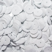 8mm CUP SEQUINS OPAQUE WHITE. Loose sequins for embroidery, applique, arts, crafts and embellishment.