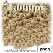 1,000pc Plastic Round Opaque Pony Beads 6x9mm Tan beads
