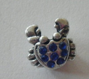 Pandora Style Silver Crab with Blue Rhinestones Charm
