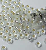 Crystal Silver Lined Miyuki E Beads 5/0 Seed Bead 5mm with 2mm Hole Glass Approx 20 Gramme Tube 130 Beads