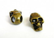 5 Metal Bronze Skull Beads For 550 Paracord Bracelets, Lanyards, & Other Projects