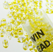 Yellow Colour Lined 2.5x5mm 2 Hole Twin Beads Czech Glass Seed Beads 23 Gramme Tube