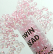 Pale Pink Pearl 2.5x5mm 2 Hole Twin Beads Czech Glass Seed Beads 23 Gramme Tube