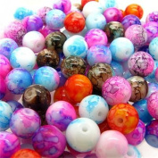 100pcs 8mm Flower Glass Bead Mix Colour Glass Bead Loose Beads