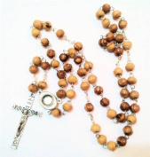 Olive Wood Beads Pray Rosary With Holy Water Capsule From Jordan River & Pewter Cross