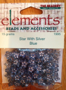 Star Shaped Bead with Blue and Silver - 15 grammes