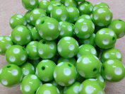 10pc 20mm White Polka Dot Lime Green Chunky Beads Bubblegum Beads Necklace Beading Supplies