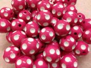 10pc 20mm White Polka Dot Fuchsia Chunky Beads Bubblegum Beads Necklace Beading Supplies