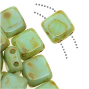 Czechmate 6mm Square Glass Czech Two Hole Tile Bead - Opaque Pale Turquoise Picasso
