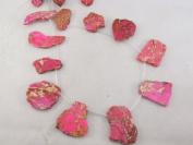 Jasper Beads 12pcs Pink Colour 2cm x 3.8cm Irregular Shape 41cm Per Strand