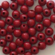 1.3cm Round Wood Beads (50pc) - Xmas Red