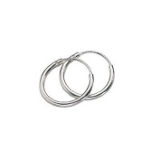 Continuous Endless Hoop Round Circle Small Sterling Silver Earrings 14mm By Jbt
