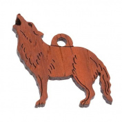 Wolf Charm Red Brown Padauk Wood 3.2cm x 2.5cm