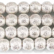 """Sterling Silver plated Brass Round 6mm Stardust Bead, 8"""" length, 37 pcs"""