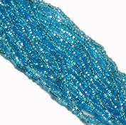 Aqua Blue Silver Lined Czech 8/0 Glass Seed Beads 1 Full 12 Strand Hank Preciosa Jablonex