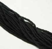 Black Matte Opaque Czech 8/0 Glass Seed Beads 1 Full 12 Strand Hank Preciosa Jablonex