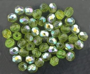 25 OLIVINE AB CZECH FIRE CRYSTAL BEADS 4MM