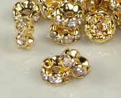7mm Rhinestone Disc Beads Gold Round Edge 36pcs