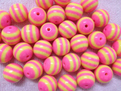 10pc 20mm Pink and Yellow Striped Resin Chunky Beads Bubblegum Beads Necklace Beading Supplies