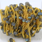 One Foot Wholesale Labradorite Faceted Rondel Beads with 24k Gold Plated chain by foot