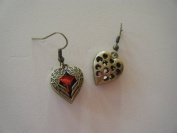 Angel Wing Red Heart Antique Gold Coloured Dangle Earrings +FREE GIFT BAG