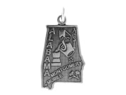 Sterling Silver Alabama State Charm