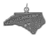 Sterling Silver North Carolina State Charm