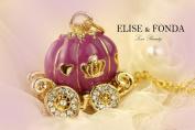 R05 Cute Purple Pumpkin Carriage Charm Pendant Necklace Clasp 43cm