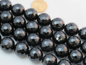 Black Onyx 16mm Faceted Beads Round 15.5'' Per Strand