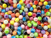 100pc 8mm Striped Resin Bubblegum Beads Necklace Beading Supplies