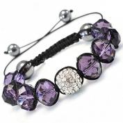 Shamballa Hip Hop Style Eight Amathyst Stone Beads, and 1 Crystal White Disco Ball