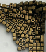 20 Grammes Bronze Metallic Matte Miyuki 4mm Square Cube Japanese Glass Seed Beads