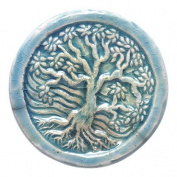 Shipwreck Beads 34mm Peruvian Hand Crafted Ceramic Raku Glazed Disc Tree of Life Beads, 3 Per Pack
