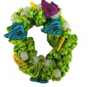 Hair Scrunchy UV Colour Changing! Green with Angel Fishes!