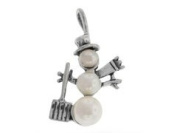 Sterling Silver and Pearl Snowman with Shovel Charm