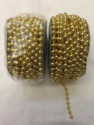6mm Faux Pearl Plastic Beads on a String Craft Roll - Metallic Gold, Total 2 Rolls