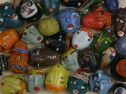 Face Beads, Indonesian - 3 Pcs Assorted
