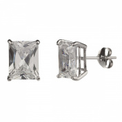 New 925 Sterling Silver Cz Rectangle Cut Stud Earrings-9mm