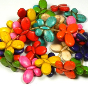 """25x35mm Butterfly Beads Chalk Turquoise (Dyed / Stabilised) Mix Gemstone Beads Approx 30"""" of Loose Strand 28 Semi Precious Stone Focal Beads"""