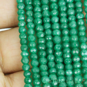 """1 Strand Green Onyx Micro Faceted Rondel 3-4mm 14"""" Length Aaamazing Quality 100 Percent Natural.(rlgo-70002)GemMartUsa Gemstone"""