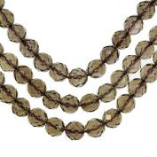 "Smokey Quartz 8mm Faceted Round Beads Genuine Natural Strand 15.25"""