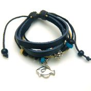 Fish Design Leather Bracelet with Attractive Wooden Beads
