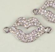 Rhinestone Lips Bracelet Bar Pave Silver W/crystal 2 Pcs 38x20mm