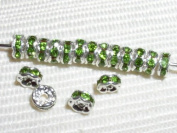 20. Rondelles 4mm Silver/Crystal Colours - Peridot