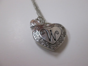 """Initially Hers """"W"""" Photo Locket Necklace"""