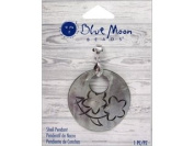 Blue Moon Beads ZP-001-00086 Round Shell Pendant with Engraved and Flower, Grey